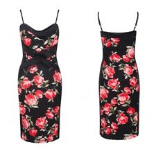 NEW WOMENS LADIES ROSE FLORAL PANEL STRETCH BODYCON STRAPPY TOP CAMI MIDI DRESS