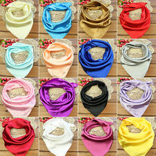 Soft Colorful Women Silk Square Scarf Small Plain Neckerchief Head Neck Headband