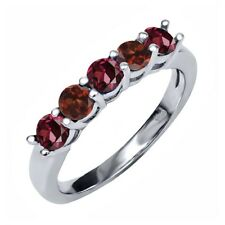 1.06 Ct Round Red Rhodolite Garnet Red Garnet 925 Sterling Silver Ring