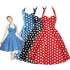 Vintage Rockabilly Polka Dot Swing 50s 60s Pinup Housewife Cocktail Party Dress