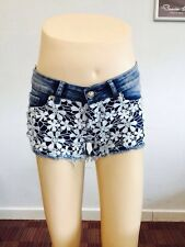 New Ladies Womens Floral Crochet Lace Denim Shorts Hot Pants Summer Casual Wear