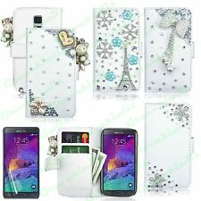 FOR GALAXY NOTE 4 N9100 LUXURY 3D CRYSTAL DIAMOND BLING CUTE LEATHER WALLET CASE