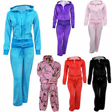 Brand New Girls Kids Fine Casual Luxuary Velour Full Tracksuit  Hooded  Age 7-13