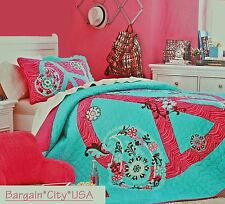 Teen Girls PINK Zebra PEACE SIGN Floral Teal 1-Piece Full/Queen QUILT Coverlet
