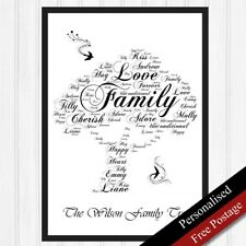 Personalised Family Tree. Word Gift for Mum/Sister/Grandmother. Home Print Tree