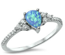Sterling Silver 925 PEAR DESIGN BLUE LAB OPAL CLEAR CZ ENGAGEMENT RING SIZE 4-10