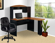L Shaped Hutch Desk + Chair Computer Office Study Writing Corner Workstation