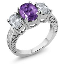 3.56 Ct Oval Purple Amethyst White Topaz 925 Sterling Silver Ring