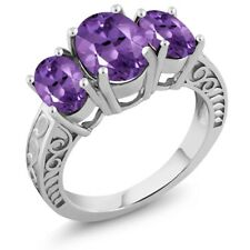 3.16 Ct Oval Purple Amethyst 925 Sterling Silver Ring