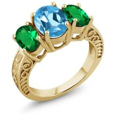 3.00 Ct Swiss Blue Topaz Simulated Emerald 18K Yellow Gold Plated Silver Ring