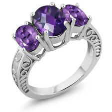 3.00 Ct Oval Checkerboard Purple Amethyst 925 Sterling Silver Ring