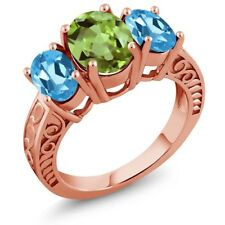 3.70 Ct Oval Green Peridot Swiss Blue Topaz 18K Rose Gold Plated Silver Ring
