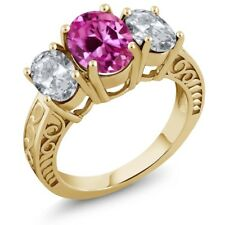 4.30 Ct Pink Created Sapphire White Topaz 18K Yellow Gold Plated Silver Ring