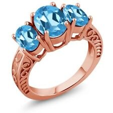 3.70 Ct Oval Swiss Blue Topaz 18K Rose Gold Plated Silver Ring