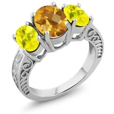2.90 Ct Oval Checkerboard Yellow Citrine Canary Mystic Topaz 925 Silver Ring