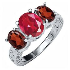 3.60 Ct Oval Last Dance Pink Mystic Quartz Red Garnet 925 Sterling Silver Ring