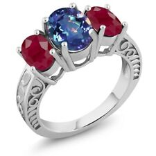 3.84 Ct Oval Millennium Blue Mystic Quartz Red Ruby 925 Sterling Silver Ring