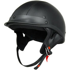 NEW Leather Half Helmet Leather DOT EVOS Motorcycle Cruiser Helmet - S/M/L/XL