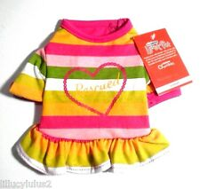 New listing Free Gift Xs L New Rainbow Striped Rescued Dog Dress Pet Clothes Dog Shirt Cat
