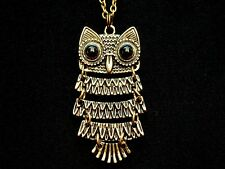 Gorgeous Antique Bronze Owl Pendant on Bronze Necklace Chain