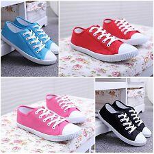 Ladies Shoes Womens Canvas Lace Up Plimsoll Flat Gym Sneakers Trainer Athletic