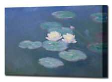Monet Water Lilies Evening Canvas Wall Art Print Picture Framed Ready To Hang
