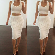Womens Two Piece Bandage Bodycon Crop Top Skirt Set Casual Party Summer Dress
