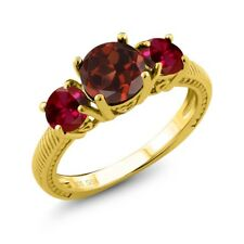 2.50 Ct Round Red Garnet Red Created Ruby 18K Yellow Gold Plated Silver Ring