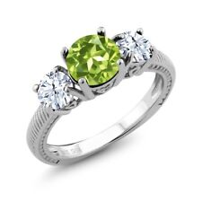2.35 Ct Round Green Peridot White Topaz 925 Sterling Silver Ring