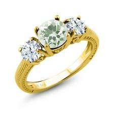 2.60 Ct Round Green Amethyst 18K Yellow Gold Plated Silver Ring