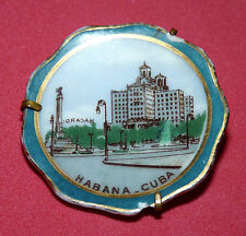 VTG HAND PAINTED HABANA CUBA MINIATURE PORCELAIN PLATE PIN BROOCH LIMOGES CUBAN