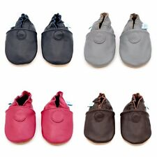 SOFT LEATHER BABY SHOES, SUEDE SOLE, PLAIN NAVY OR BROWN UNISEX DOTTY FISH