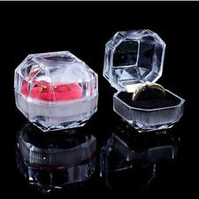Clear Acrylic Crystal Ring Box Earring Storage Display Case Jewelry Organizer