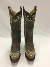 Women's Corral Brown Crater Boots w/Bone Embroidery