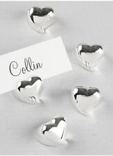50 Silver Heart Bridal Shower Wedding Anniversary Place Card Holder Favor