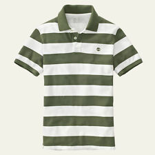 Timberland Men's Short Sleeve Miller River Striped Rugby Olive Polo Style #8744J