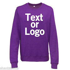 Ladies Womens Sweatshirt Purple and Heather Grey Personalised Text Logo