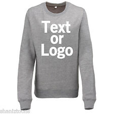 Ladies Womens Sweatshirt Grey and Heather Grey Personalised Text Logo
