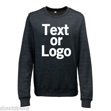 Ladies Womens Sweatshirt Black and Heather Grey Personalised Text Logo