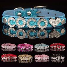DIY PU Leather Personalized Collar Pet Puppy Dog Cat Bling Rhinestone Name