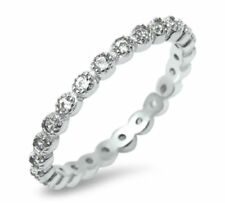 Sterling Silver 925 STACKABLE ETERNITY DESIGN CLEAR CZ BAND RING 3MM SIZES 4-10