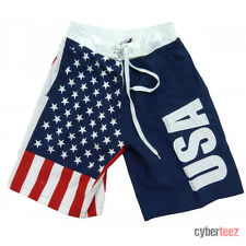 USA American Flag Mens Board Shorts Swim Trunks Patriotic Stars & Stripes S-3XL