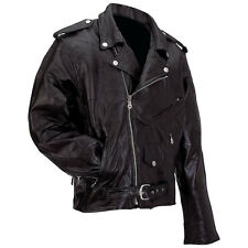 Mens Genuine Buffalo Leather Motorcycle Biker Riding Jacket~S thru 7XL