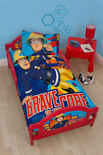 FIREMAN SAM BRAVE CHILDRENS KIDS TODDLER JUNIOR COT BED CHARACTER CARTOON BOYS