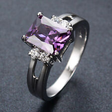 Jewellery Purple Amethyst Wedding Rings Size J-T Women's 10KT white Gold Filled