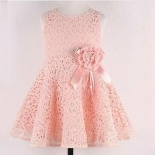 Baby Girl Kids Princess Tutu Dress Flower Lace Sleeveless Party Skirt Dress 2-7Y