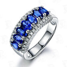 Fashion Blue Sapphire Engagement Ring CZ 10Kt White Gold Filled Women's Size J-Y
