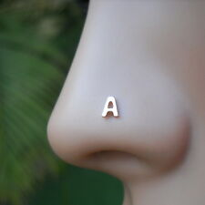 Nose Piercing TragusCartilage Earring Personalized Initial 14K Solid Rose Gold