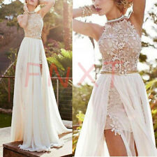 Sexy Long Chiffon Lace Evening Formal Party Cocktail Dress Bridesmaid Prom Gowns