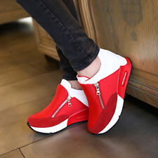 Womens Fashion Zip Wedge Hidden Heel Sneakers Faux Suede Sport Athletic Shoes Sz